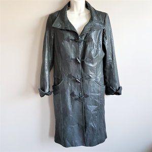 Danier Italian Leather long coat w toggle buttons.